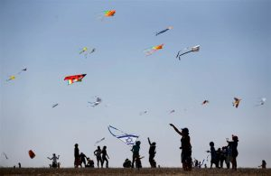 Kites take wing in Israel as the celebration of the Jewish new year, Rosh Hashana got under way.