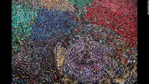 This human tower was all part of the games and celebrations at the Tarragona competition held annually i Tarragona, Spain.