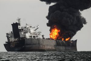 An oil tanker exploded and caught fire off the coast of Mexico. The fire was eventually extinguished.